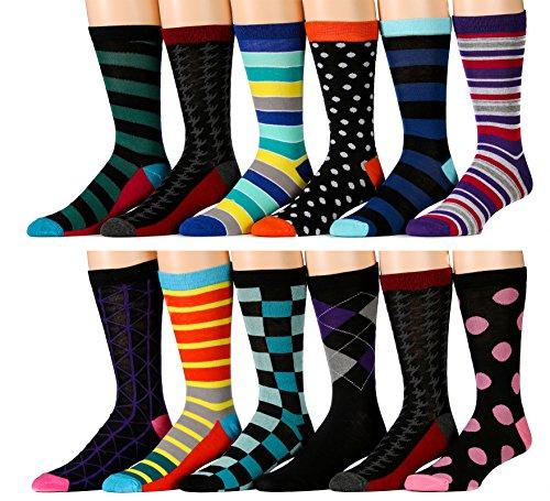 12 Pairs of excell Mens Colorful Designer Dress Socks, Cotton Blend (Pack - Ten Designer Mens Brands Top