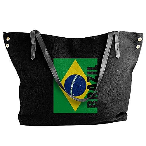 (SW98Q98 Brazil Flag Women's Leisure Shoulder Bag Canvas Bag for Travel Handbag)