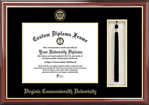 Laminated Visuals Virginia Commonwealth University Rams - Embossed Seal - Tassel Box - Mahogany - Diploma Frame