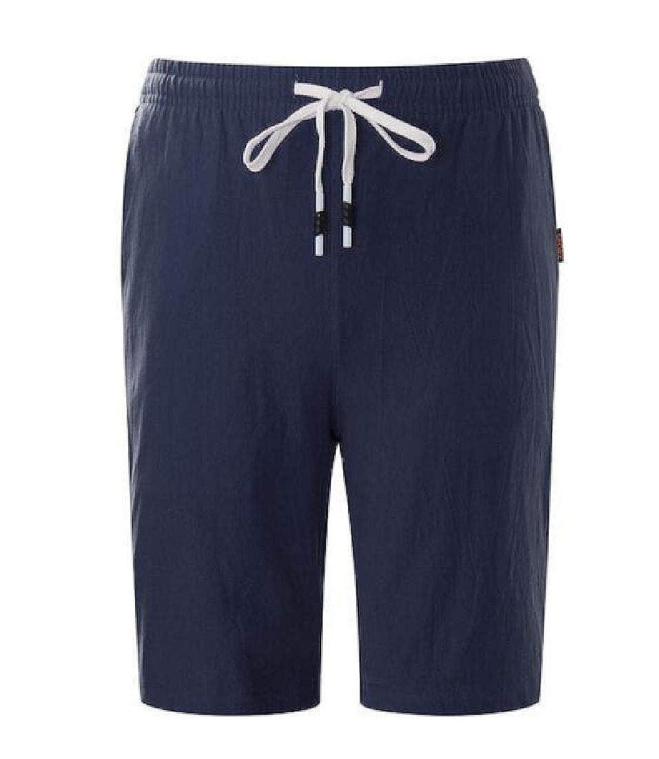 Domple Men Summer Knee Length Drawstring Solid Beach Shorts Boardshort Swim Trunk