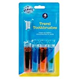 4 Travel Toothbrushes Fold Up Foldable Toothbrush Holiday Red Blue Compact by blueskies