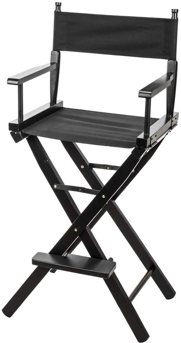 "CLAR DC-30 Directors Chair 30"" Height Lightweight Foldable Portable Black Wood Frame with Footrest - for Home or Commercial use - Makeup Artist Chair - Film Directing or YouTube (Black)"
