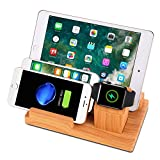 Lalago Desktop Charger Station, 4-Port USB Charging Station Dock with Apple Watch Stand, Multi Device Organizer Fast Charging for Apple Watch, Smart Phones, Tablets