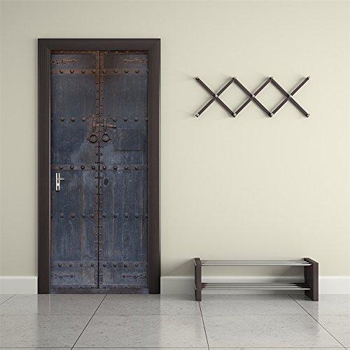 - Fymural 3D Door Wall Mural Wallpaper Stickers-Old Wooden Door Self-Adhesive Vinyl Removable Art Door Decals 30.3x78.7 ¡