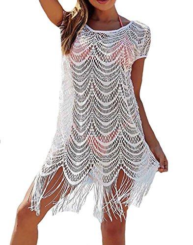 Bestyou Women's White Lace Crochet Mini Dress Fringe Bathing Suit Cover up Tunic Tops Swimwear (White D)