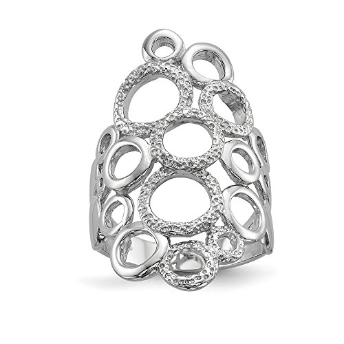 (925 Sterling Silver Textured Circles Band Ring Size 8.00 Fine Jewelry Gifts For Women For Her)