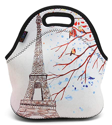 ICOLOR Pink Eiffel Tower Neoprene Lunch Tote Bag, Thermal School Lunch Tote Bag, Lunch Box & Food Container, Insulated Soft Lunchbox, Food Storage Cooler - Great Gift for Boys,Girls -