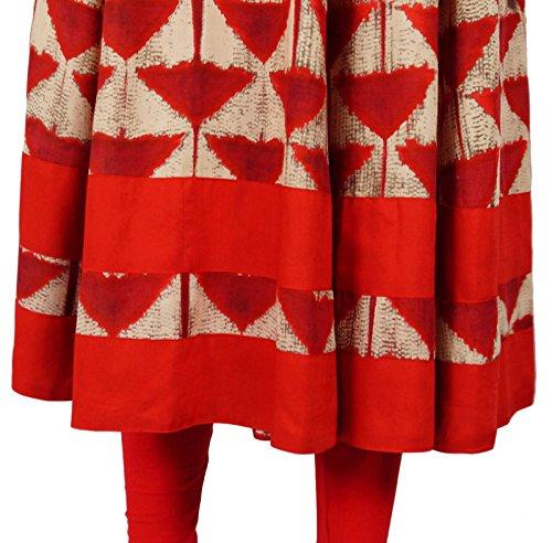 Demi Kurta Vêtements Manches Anarkali De Bimba Rouge Mode Robe Classique Kurti q8STY