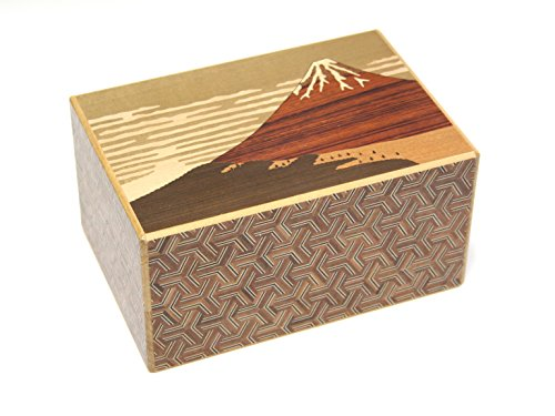 Japanese puzzle box 14steps Akafuji (dual compartment) -