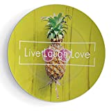 iPrint 6'' Ceramic Plates Live Laugh Love Decor Ceramic Decorative Plates Tropical Pineapple with Sunglasses on Yellow Wood Board Joyful Print Decorative