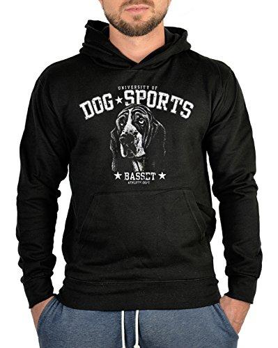 Kapuzen-Sweatshirt Hoodie Dog Sports Aufdruck: Basset - trendiges Hunde Motiv