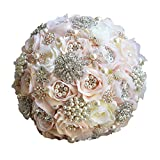 Abbie Home Advanced Rhinestone Covered Wedding Bridal Flower - Crystal Pearls and Jewels Decorated Rose Bouquet in Champagne Blush (Champagne)