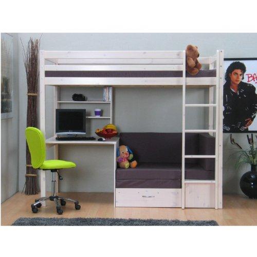 Hochbett mit schreibtisch und sofa  Thuka Hochbett, 90x200 Bett weiss inkl. Matratze grau und ...