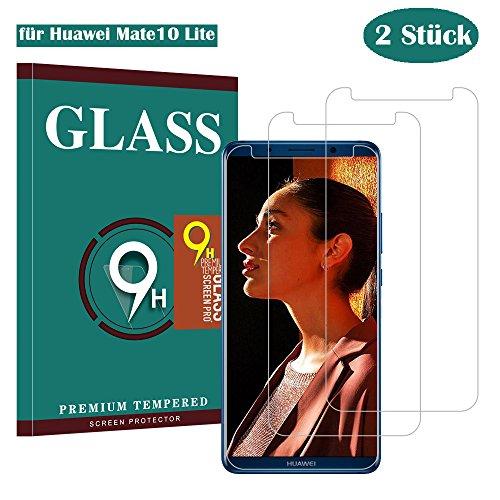 Huawei Mate10 Lite Panzerglas Schutzfolie, Guanzer Gute Qualität Gehärtetem Glass [2 Stück] [Ultra Klar] [9H Härtegrad] [Anti-Kratzen] [Anti-Fingerabdruck] [Blasenfreie Installation] Displayschutzfolie Panzerglasfolie für Huawei Mate 10 Lite
