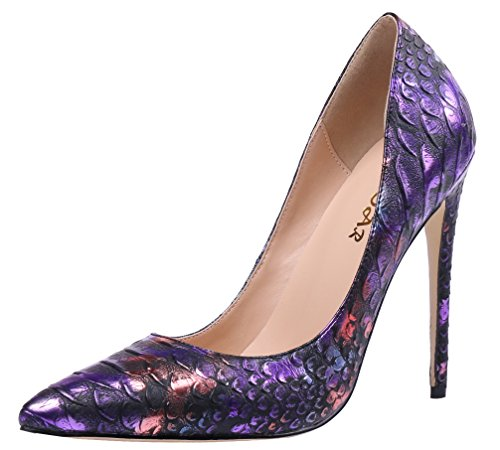 AOOAR Women's Snakeskin-Print High Heel Colorful D-Purple PU Dress Pumps 8 M US (Stiletto Snake)