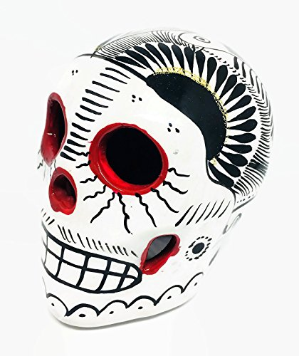 White, Black and Red Day of the Dead Sugar Skull Mexico Hand Made Decor Calavera Dia de Los Muertos Halloween Glossy