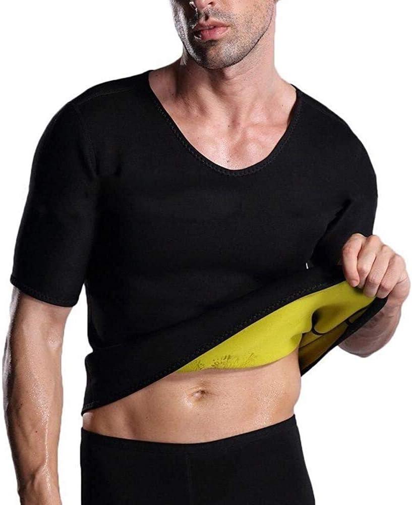 Couleur : T-Shirt, Size : 3XL BTXX Hommes Taille D/ébardeur Trainer Hot n/éopr/ène Corset Sauna Tank Top