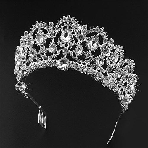 Frcolor Tiara Crowns ,Rhinestone Crystal Queen Tiara Headband Wedding Pageant Crowns Princess Crown for Women