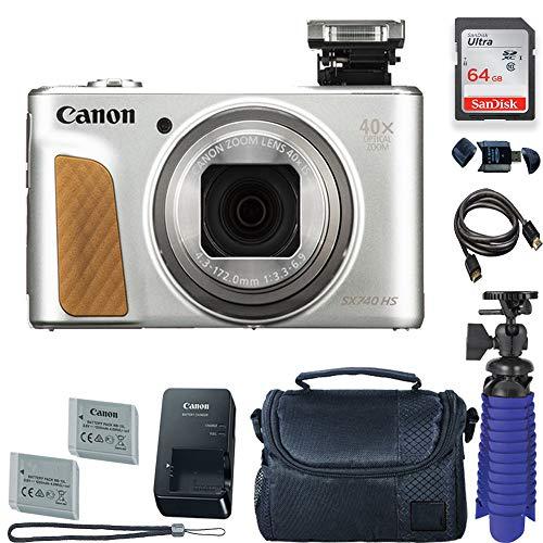 (Canon PowerShot SX740 HS Digital Camera (Silver) with 64 GB Card + Premium Camera Case + 2 Batteries + Tripod)