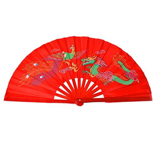 Chinese Kung Fu Tai Chi Fan Arts Dance/Practice Performance Bamboo Folding Fan (Dragon And Phoenix red background)