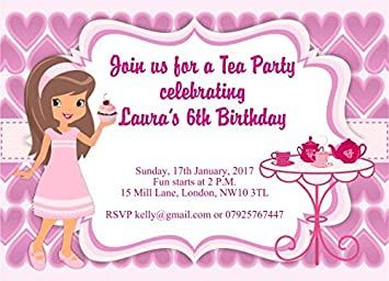10 X Personalised Children Afternoon Tea Birthday Party Invitations