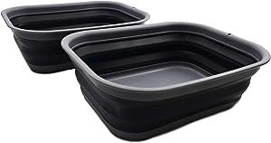 SAMMART 12L (3.17 Gallon) Collapsible Tub - Foldable Dish Tub - Portable Washing Basin - Space Saving Plastic Washtub (2, Grey/Black)