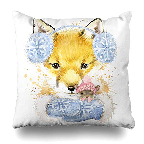 MHKLTA Decorativepillows Case Throw Pillows Covers for Couch/Bed 18 X 18 Inches,Cute est Fox Graphics Watercolor Poster Fashion Home Sofa Cushion Cover Pillowcase Gift