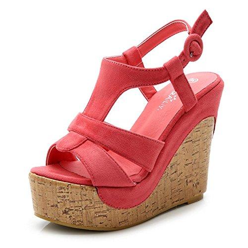 LvYuan Sandalias del verano de las mujeres / oficina y carrera / talón ultra ultra atractivo / plataforma impermeable / talón de cuña / hebilla / estilo nacional bohemio watermelon red