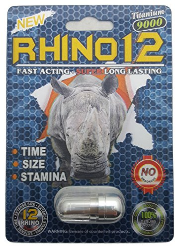 Premium Rhino 12 Sex Pill - Titanium 9000 All Natural Male Enhancement Formula - Time - Size - Stamina - Fast Acting and Longer Lasting! (3 Pack)