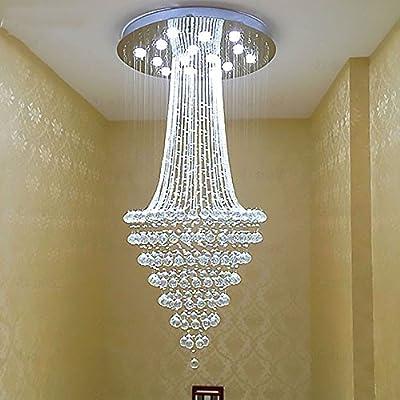 SanKD Creative LED Crystal Lamp Modern Minimalist Round K9 Crystal Pendant Lamp Luxury Penthouse Floor Villa Chandelier