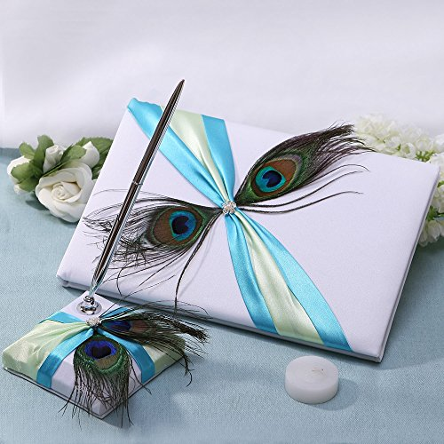 (KateMelon Satin Rhinestone and Peacock Plume Wedding Guest Book & Pen Set)