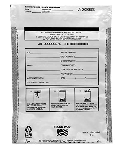 Secur-Pak Deposit Bags with Pocket - Pack of 100 - Premium, Level 4 Security Tamper Evident, White Security Bags - Self Sealing, Opaque 2.5 Mil Plastic - 12