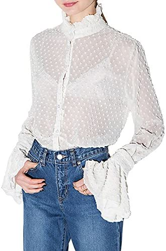 cad483885bd41 Richlulu Womens See Though Lace Ruffle Stand Collar Flare Sleeve Shirt  Blouse