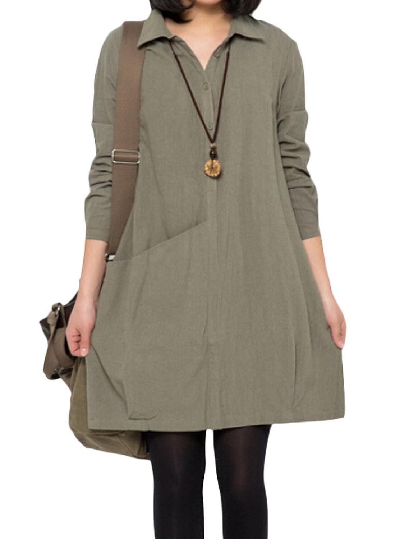MatchLife Damen Revers Blusen ein Taste Kleider