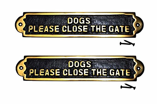 Renovator's Supply Brass Plaques Please Close The Gate Garden Signs Brass Plate Set Of 2