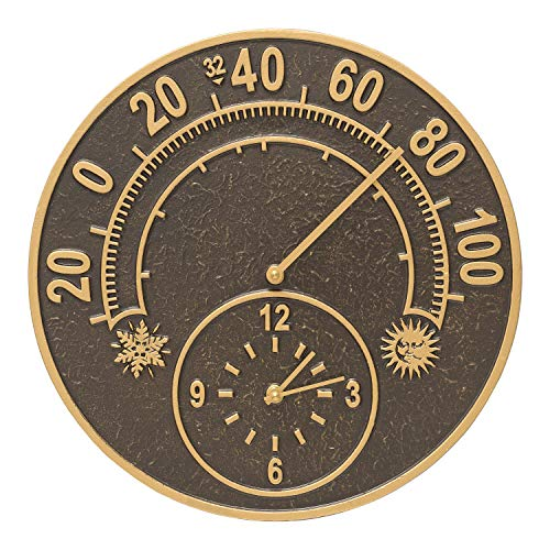 Solstice Thermometer Clock in French Bronze