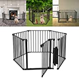 Pet Playpen with Door - Mosunx Foldable Pet Puppy Cat Metal Exercise Barrier Fence for Indoor Outdoor Yard - Detachable DIY Shape As You Need (Black - 6 Panel - 29.5inch High)