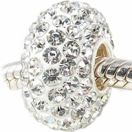 Solid Sterling Silver Core Stunning Swarovski Crystal Bead Charm Compatible with Pandora Trollbeads Chamilia Silverado and Biagi Charms Bracelets (Silverado Charm Bead)