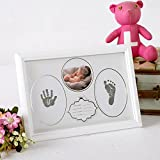 Baby Handprint Kit & Footprint Photo Frame for Newborn Girls and Boys, Handprint and Footprint Ink Pads, Exquisite Gift Box Decorations for Room Wall, Best Birthday Or Christmas Gift for Baby (White)