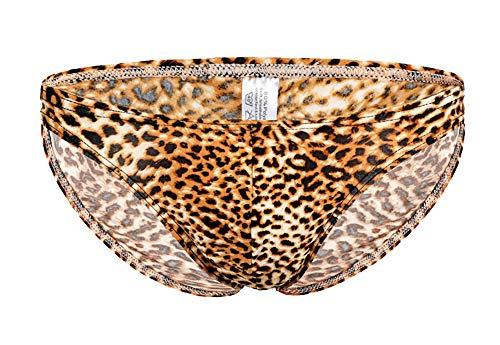 ONEFIT Men's Leopard Print Tanga Brief Enhancing Pouch Shorts Underwear Yellow