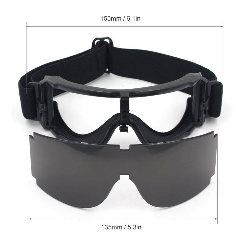 Lunettes Tactiques ext/érieures pour la Chasse au tir Paintball CS Gaming Lixada Lunettes de Protection UV400 avec 3 lentilles interchangeables