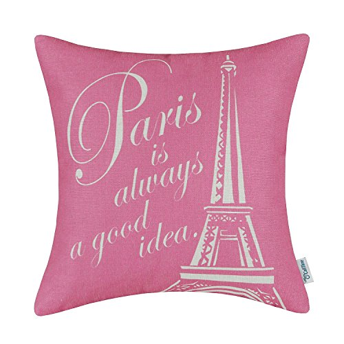 CaliTime Canvas Throw Pillow Cover Case for Couch Sofa Home Decoration Famous Paris Eiffel Tower 18 X 18 inches Pink