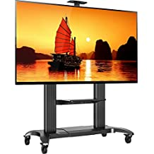 """North Bayou Mobile TV Stand Heavy Duty TV Cart for Massive LCD LED OLED Flat Panel Plasma TV 60"""" - 100 Inches up to 300lbs Universal TV Cart with Wheels Rolling TV Stand with Shelves CF100 Black"""