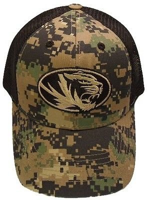 Missouri Tigers NCAA Camouflage Camo Embroidered Logo Mesh Back Baseball Hat Cap (Visor Tigers Missouri)