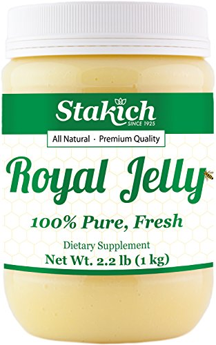 Stakich FRESH ROYAL JELLY - 100% Pure, All Natural, Highest Quality - No Additives/Flavors/Preservatives Added - 1 KG (2.2 LB) - Pure Fresh Royal Jelly