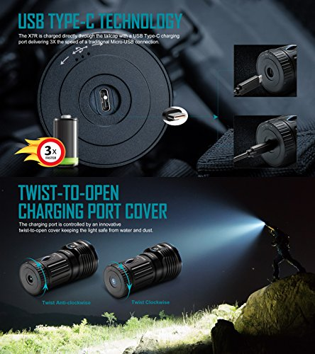 Olight X7R Marauder 12000 Lumens CREE XHP 70 LED USB Rechargeable Flashlight for Camping,Hunting,Searching,with 4 X 18650 Rechargeable Batteries (Built-in) and SKYBEN Accessory by SKYBEN (Image #2)