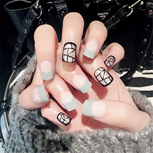 24Pcs Grey Color Geometry Black Line Fake Nail Press On Nail Black Artificial Nail Tips With Glue Sticker Faux Unhas Gift ()
