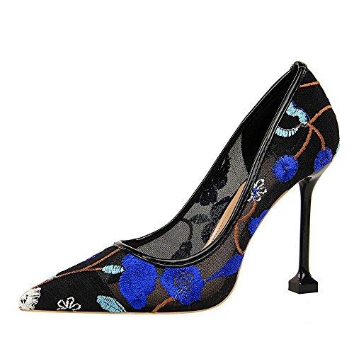 ZHANGYUSEN Nuevo Negro de Tacón bajo Heel Shoes. La luz de oro