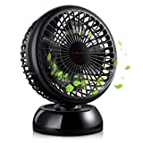 E-PRANCE USB Fan, Portable Desk Table USB Fan for Office Home School Outdoor (Quiet Run, 2 Speeds, 7 Inches, 360 Degrees Rotation, 3.6FT Retractable USB Cable, No Battery Peration)