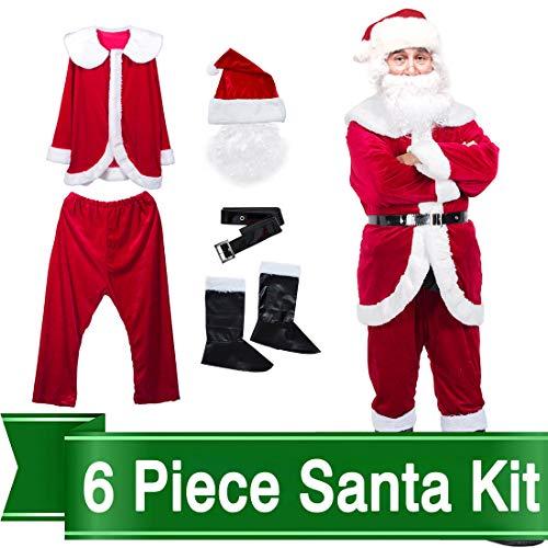 (Christmas Santa Claus Costume Set Men Santa Costume Women Deluxe Santa)